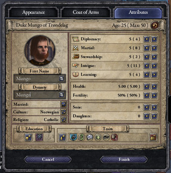 "My stats. I have reasonably high ""intrigue"" and ""martial"" qualities. The rest are low. My name is ""Mungo"". My dynasty is ""Mungo"". My traits are; impaler, deceitful, gregarious, arbitrary, cynical and wrathful. I am poorly educated in sneakiness. These are based on suggestions from Facebook. The views expressed in this diary are those of a fictional character. I take full responsibility for any offensive material."